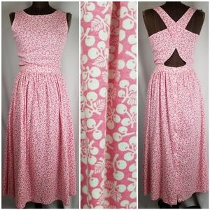 Rare vintage Pink white cherry jersey knit dress s
